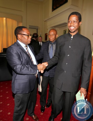 Lungu with Musa Mwenya after Special Cabinet Meeting .1517