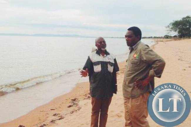 FILE: HH and Katele Kalumba on the shores of Lake Mweru