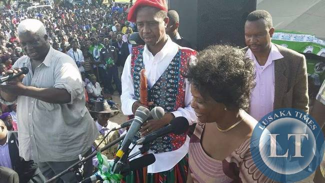 Mrs Lungu addresses the crowd at a PF rally to drum up support for the PF Presidential candidate in the 20th Jan.2015, Presidential By-Election Edgar Lungu