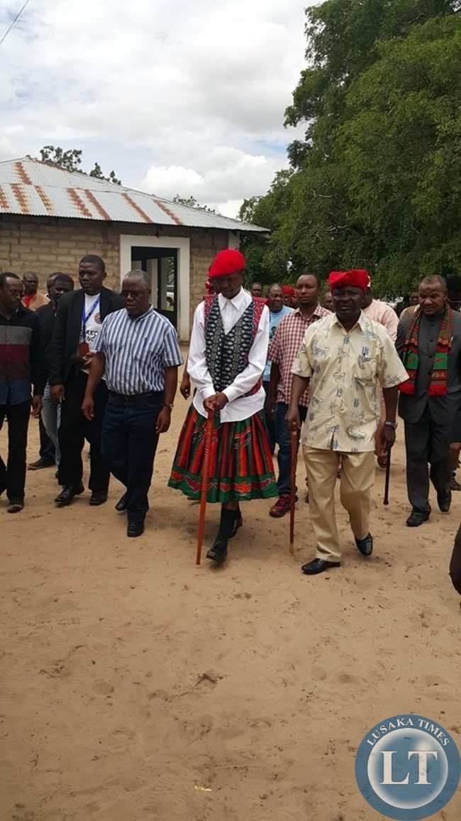 Hon Edgar Lungu leaves the Limulunga Palace after a  visit with the Kuta and The Litunga