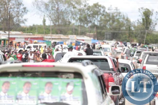 Edgar Lungu's convoy passing through Mongu town