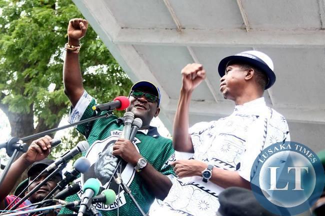 Simuusa and Lungu addressing the Kitwe rally