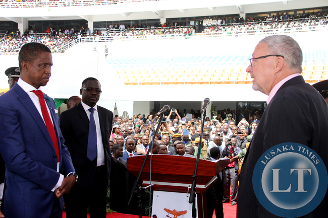 Former Acting President Dr Guy Scott with  President Edgar Lungu during the Inauguration Ceremony at Heroes Stadium in Lusaka on January 25,2015 -Picture by THOMAS NSAMA