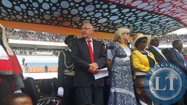 Guy Scott with his Wife and Edgar Lungu wife (in yellow) at the Hereos Stadium