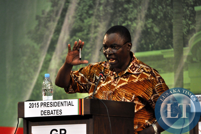 Green Party leader Peter Sinkamba makes a presentation during the presidential debate