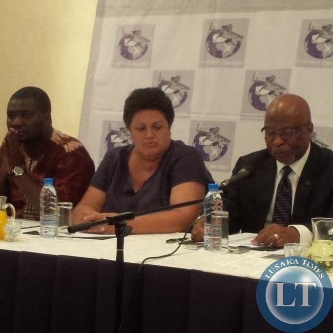MMD President Nevers Mumba at the Newsmakers Forum flanked by Deputy National Secretary Winnie Zaoloumis and Director-Communications Rapheal Nakacinda