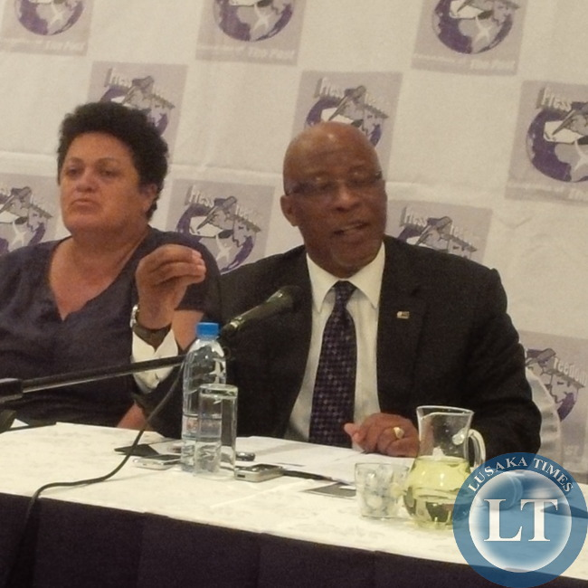 MMD President Nevers Mumba stresses a point at the Newsmakers Forum
