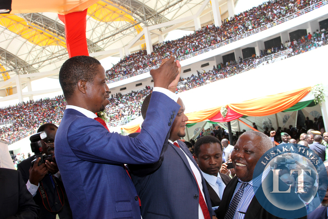 President Edgar Lungu with Commerce deputy minister Miles Sampa during his  Inauguration Ceremony at Heroes Stadium in Lusaka  on January 25,2015 -Picture by THOMAS NSAMA