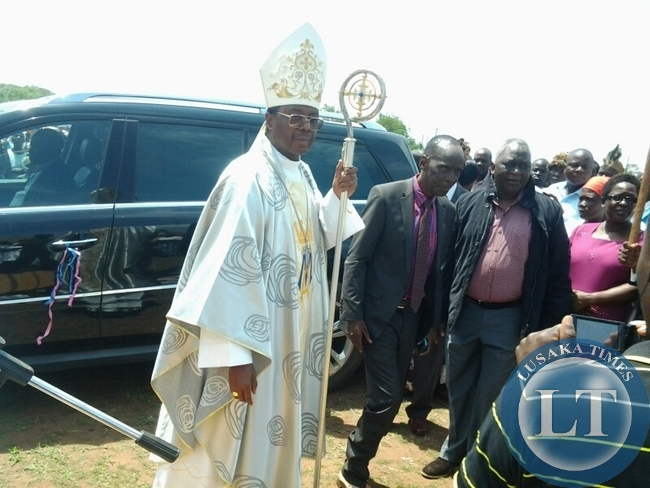 CHIPATA Catholic Diocese Bishop George Lungu with Paramount Chief Mpezeni