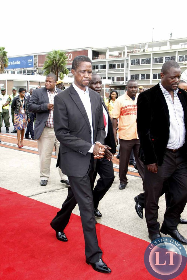 President Edgar Lungu on arrival at Kenneth Kaunda International Airport shortly before departure to Addis Ababa, Ethiopia for the African Union Summit on January 29,2015 -Picture by THOMAS NSAMA