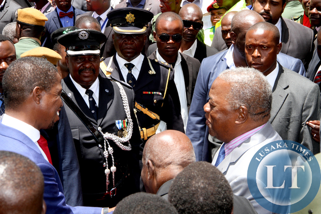 President Edgar Lungu with former President Rupiah Banda  during his  Inauguration Ceremony at Heroes Stadium in Lusaka  on January 25,2015 -Picture by THOMAS NSAMA