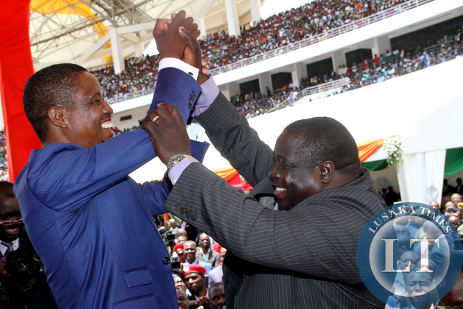 President Edgar Lungu with Sports minister Chishimba Kambwili during his Inauguration Ceremony at Heroes Stadium in Lusaka on January 24,2015 -Picture by THOMAS NSAMA