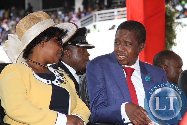 President Edgar Lungu with First Lady Esther Lungu  during his  Inauguration Ceremony at Heroes Stadium in Lusaka  on January 25,2015 -Picture by THOMAS NSAMA