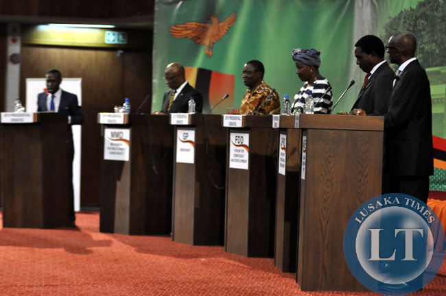 FILE: The five presidential candidates during the live radio and television debate at Mulungushi International Conference centre