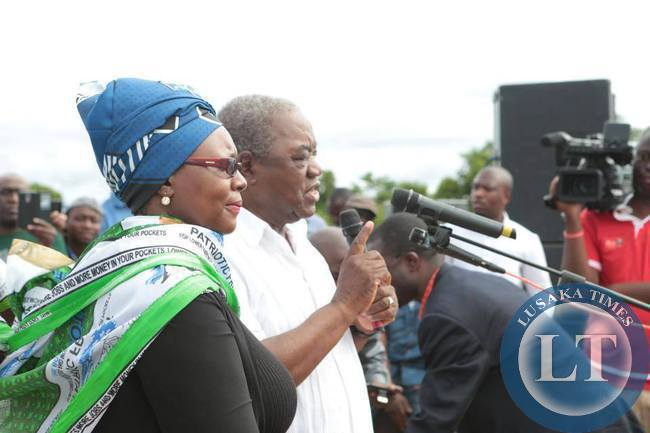 Former President Rupiah Banda and former MMD Petauke Member of Parliament  Dora Siliya campaign for PF Presidential Candidate  Edgar Lungu at a PF rally in Petauke
