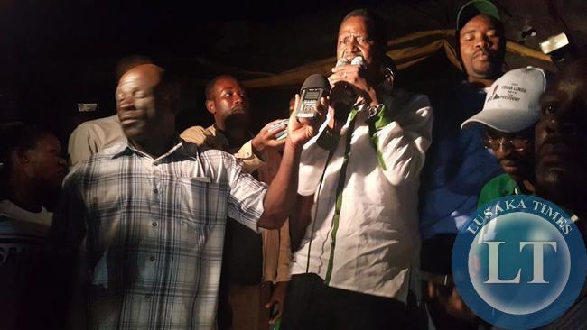 Edgar Lungu addressing a late night rally in Isoka