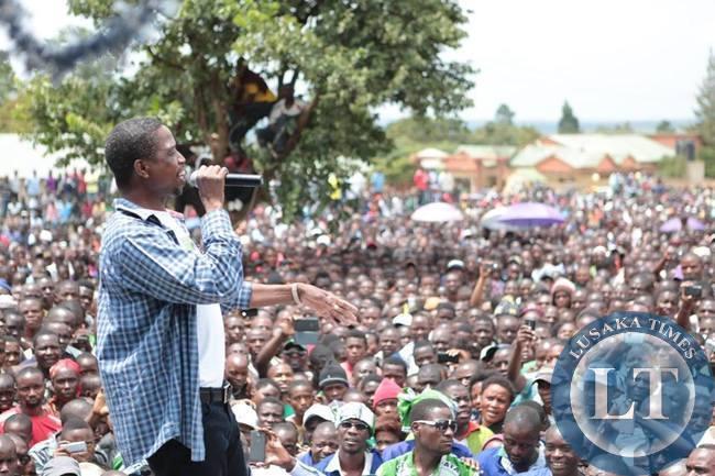 PF President Edgar Lungu  addressing the  rally in Nakonde