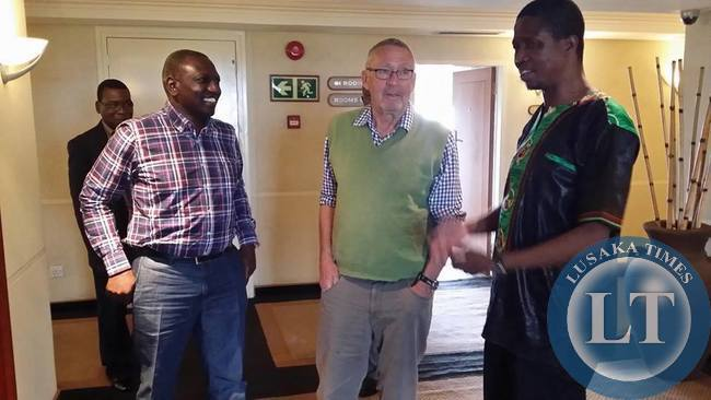 Guy Scott  with Edgar Lungu and Deputy President of Kenya Willian Ruto