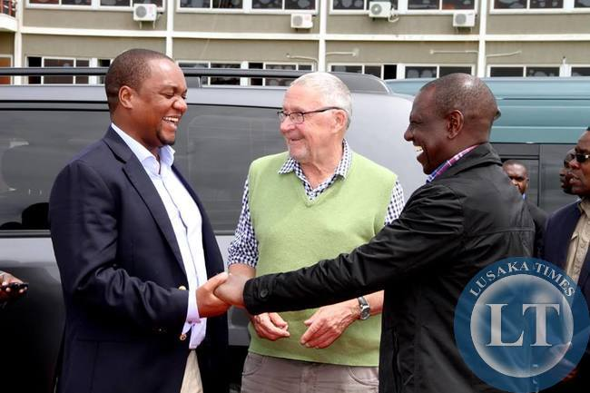 Acting President Dr Guy Scott with Visiting Kenya's Deputy President William Ruto and Miles Sampa before leaving the country