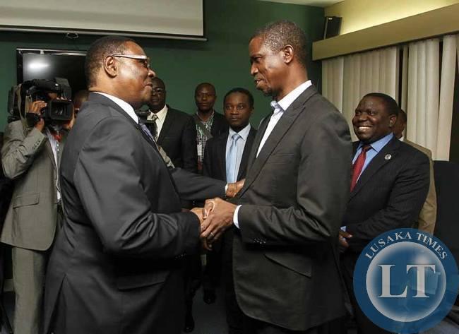 Edgar Lungu meeting with Malawian President Professor Peter Mutharika at Hilton Hotel