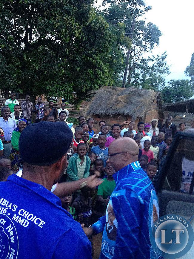 Nevers Mumba at a  Samfya Rally