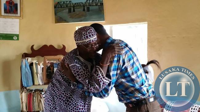PF President Edgar Lungu hugs  Chief Mununga
