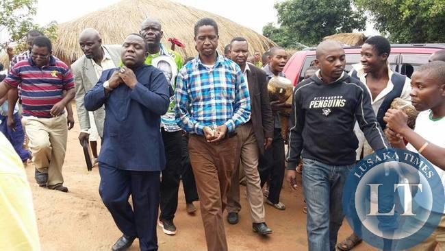 Patriotic Front (PF) President,Hon.Edgar Chagwa Lungu addresses a rally in Lupiya in Luapula Province of Zambia