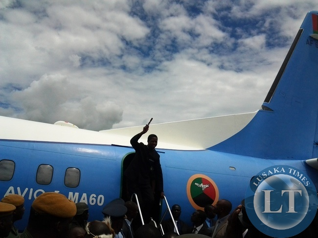 President Edgar Lungu when he a lightened from the plane in at Chipata airport