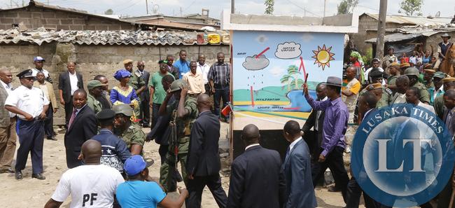 President Lungu at Misisi Water kiost