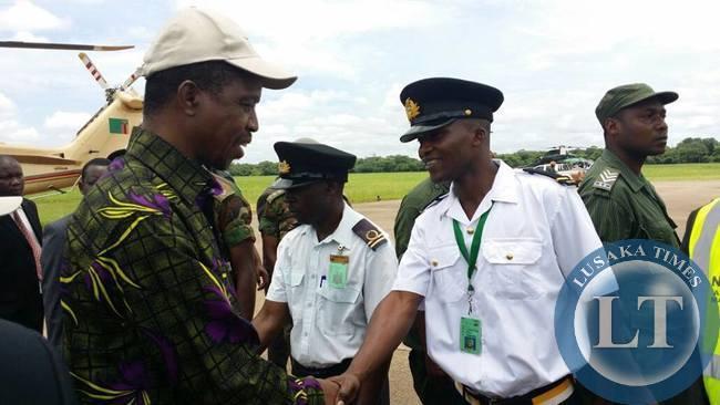 President Edgar Lungu before departing for Lusaka