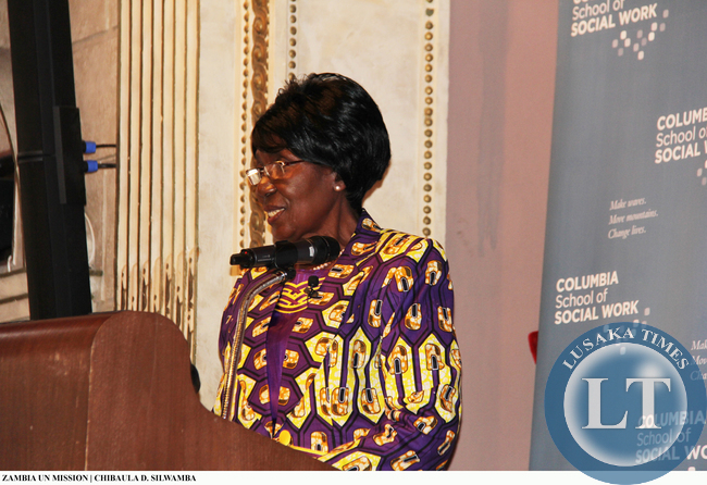 Vice-President Inonge Wina lecture at Columbia University on 11 March, 2015. PHOTO | CHIBAULA D. SILWAMBA | ZAMBIA UN MISSION