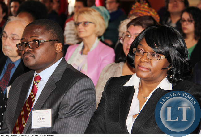 Zambia's Ambassadors to the UN and US, Mwaba Kasese-Bota (right) and Palan Mulonda, respectively, listening to Vice-President Inonge Wina lecture at Columbia University on 11 March, 2015. PHOTO | CHIBAULA D. SILWAMBA | ZAMBIA UN MISSION