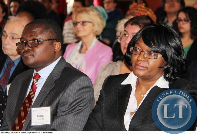 Zambia's Ambassadors to the UN and US, Mwaba Kasese-Bota (right) and Palan Mulonda, respectively, listening to Vice-President Inonge Wina lecture at Columbia University on 11 March, 2015. PHOTO | CHIBAULA D. SILWAMBA | ZAMBIA UN MISSION