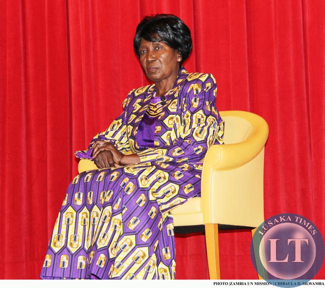 Vice-President of Zambia Inonge Wina at Columbia Universityfor a lecture in New York on 11 March, 2015. PHOTO | ZAMBIA UN MISSION | CHIBAULA D. SILWAMBA