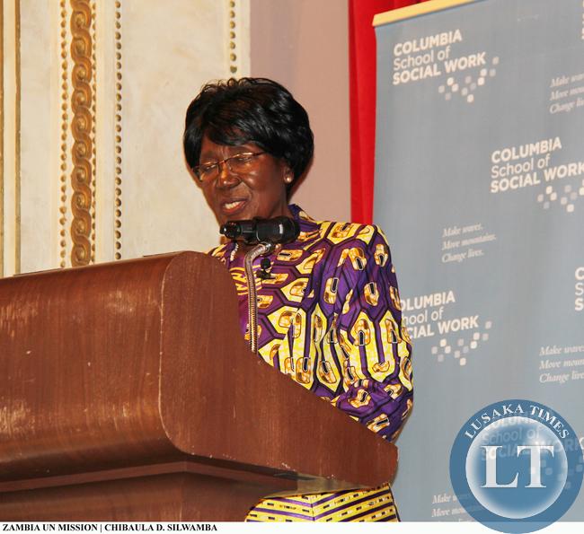 Vice-President Inonge Wina lecture at Columbia University on 11 March, 2015. PHOTO | CHIBAULA D. SILWAMBA | ZAMBIA UN MISSION