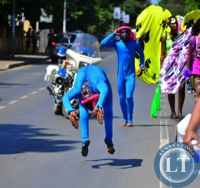 Acrobats from Zambia entertained the crowd with their rare skills
