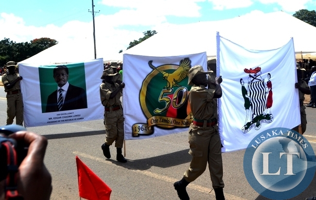 Cadets pass in style during the commemoration of youth day at the freedom statue in Lusaka