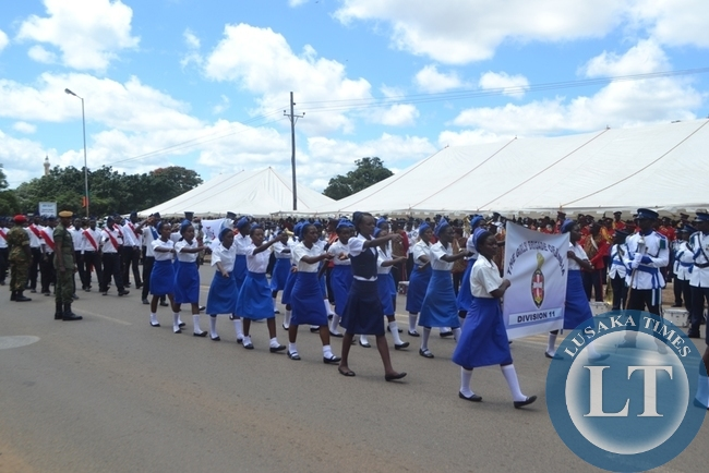 Youths from various schools and organization took part in a march-past during the youths day celebrations in Lusaka at the freedom statue