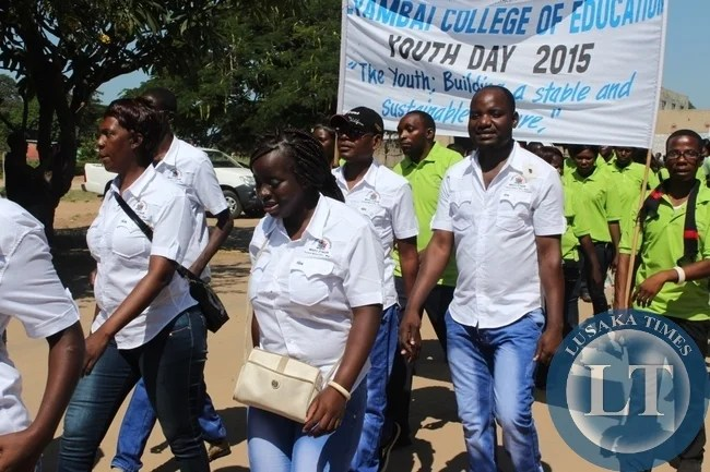 Youths, from different colleges matchduring the commemoration of YouthDay in Mongu District of Western Province