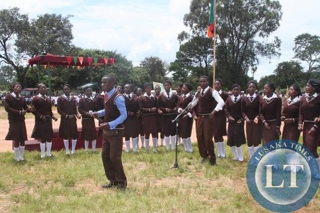 Kyawama high school choir singing during Youth Day celebrations in Solwezi