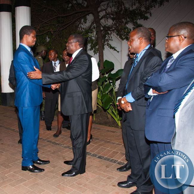 President Edgar Lungu is greeted by Kagem chairman William B Nyirenda, with Kagem director Dr Sixtus Mulenga and Minister of Mines Hon. Christopher Yaluma