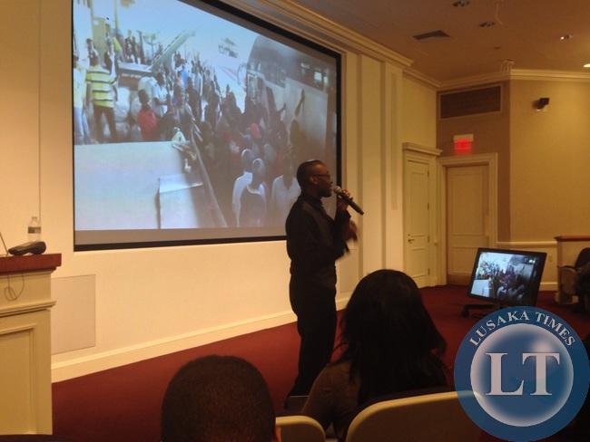 Mawano Kambeu giving a presentation at Harvard business school