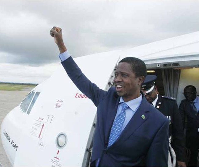 Edgar Lungu arrives from China
