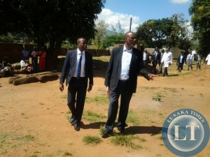 Mbala MP Mwalimu Simfukwe with Chipata General Hospital administrator Webster Chisaka during the tour of the parliamentary committee on health at the institution