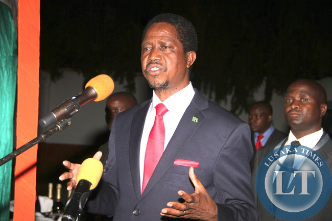 President Edgar Lungu  addresses  Zambian's leaving in Zimbabwe at the Zambia's Ambassador to Zimbabwe's resident in Harare on April 29,2015 -Picture by THOMAS NSAMA