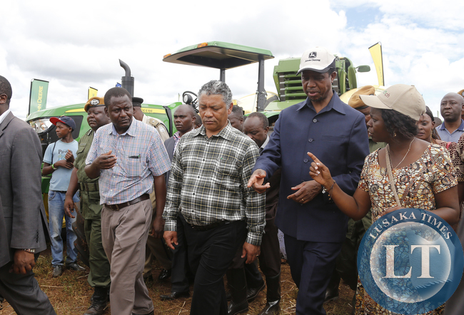 President Edgar Chagwa Lungu with Agriciculture minister Given Lubinda at Klein Karoo Seed field demonstration in Chisamba during the Agritech Expo Zambia 2015 on Saturday, April 18, 2015. PICTURE BY EDDIE MWANALEZA/STATE HOUSE ©2015