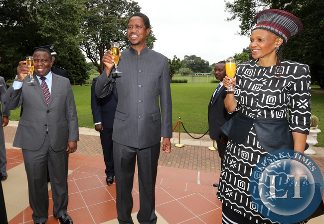 President Edgar Lungu with Mr Harry Kalaba Foreign Affairs Minister and MS Sikote Ntombazana Mji High Comissioner of South Africa  at Statehouse during the Presantation of Credentials to the President in Lusaka on Thursday 23rd April 2015.PICTURE BY EDDIE MWANALEZA/ STATEHOUSE.