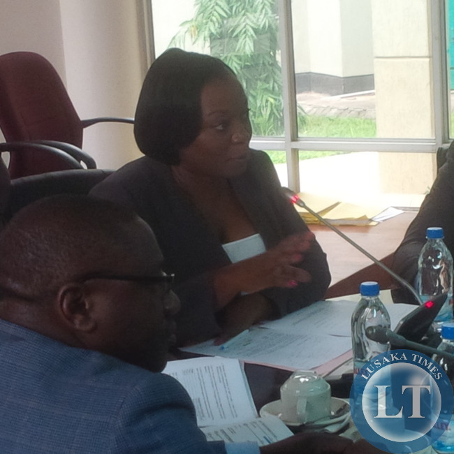 ZICTA Director General Margaret Chalwe Mudenda stressing a point during her submission to the Parliamentary Committee on Transport