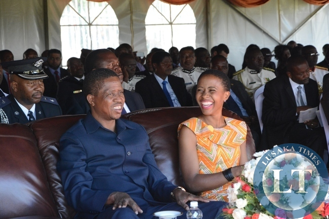 President Edgar Lungu and his daughter Tasila Lungu having a light moment during the investiture ceremony at State House
