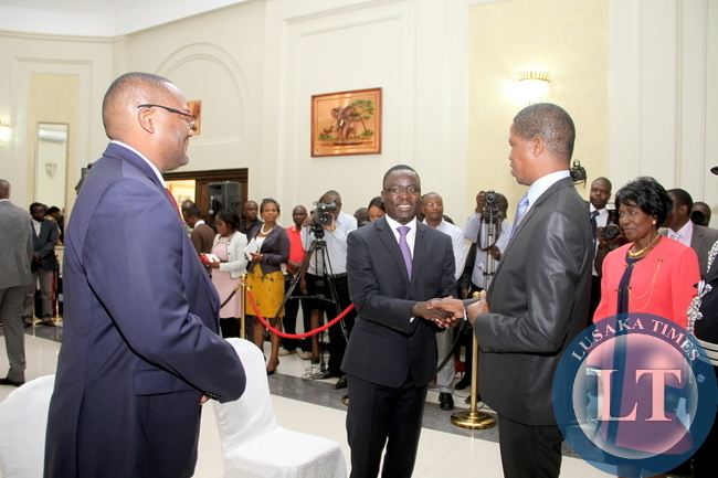 President Edgar Lungu , Vice-President Inonge Wina, Zambia's High Commissioner to South Africa Emmanuel Mwamba and Zambia's Ambassador to France Humphrey Chibanda during the swearing -In-Ceremony at State House on May 4,2015 -Picture by THOMAS NSAMA